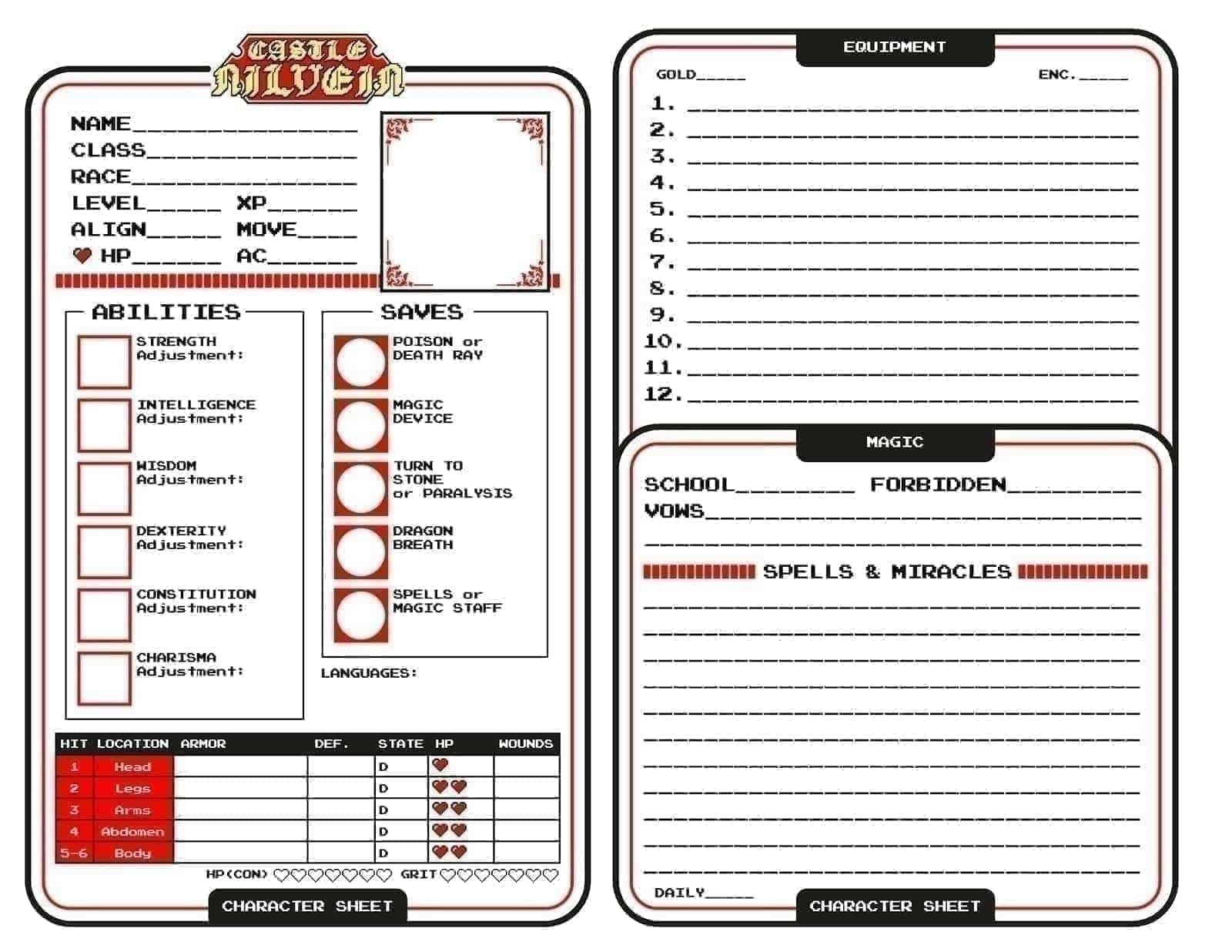 Blank Nilvein Character sheet with the portion about armor stolen completely from Necropraxis.