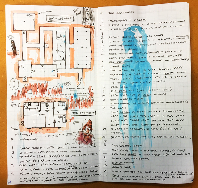 The original notes for Isaac's basement in my traveler's notebook