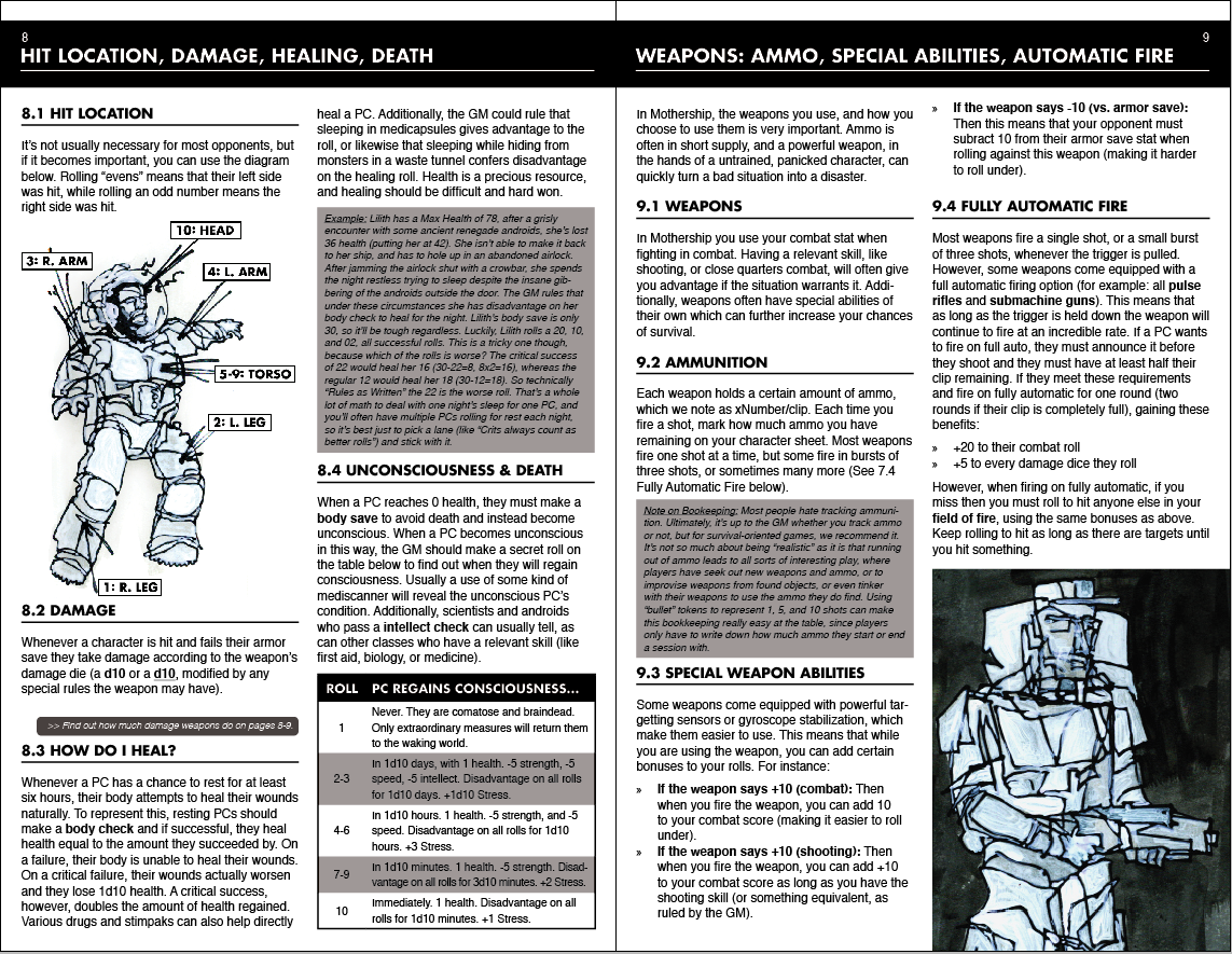 A spread with some of the combat rules
