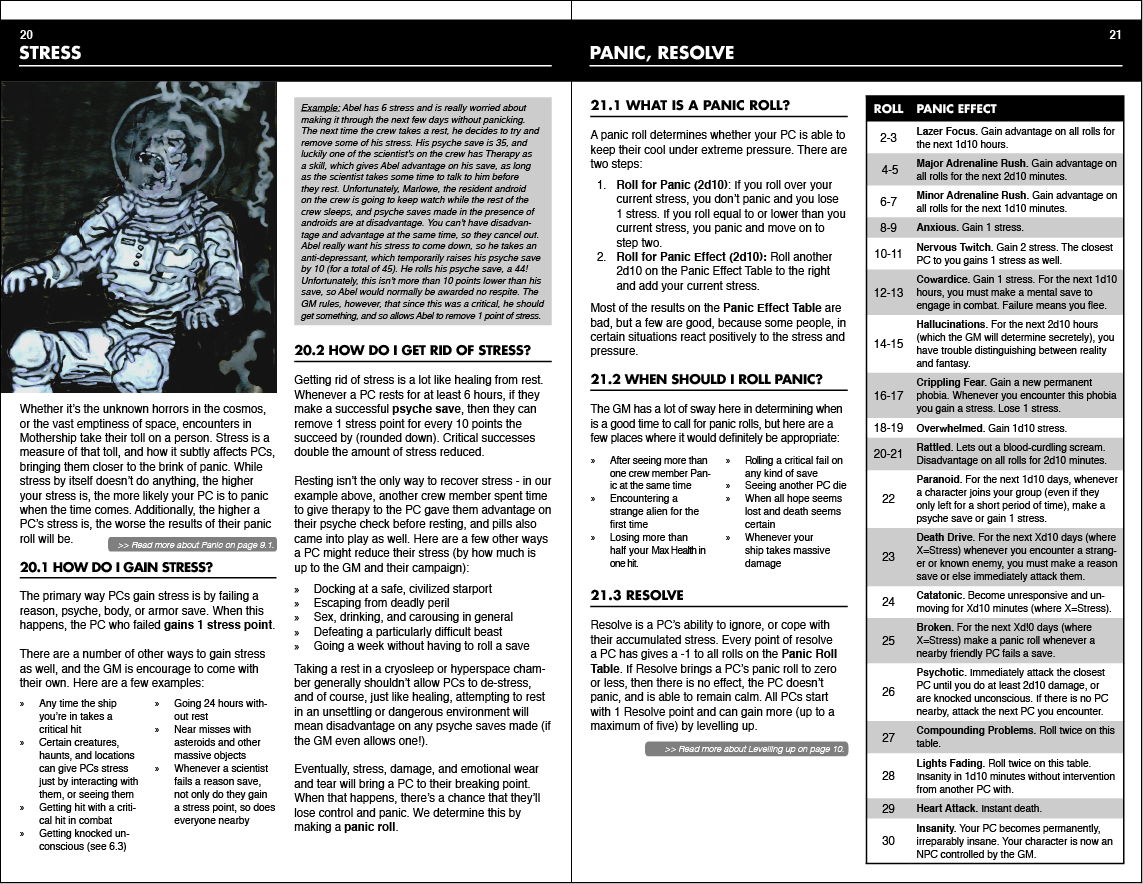 The spread for rules concerning panic and stress