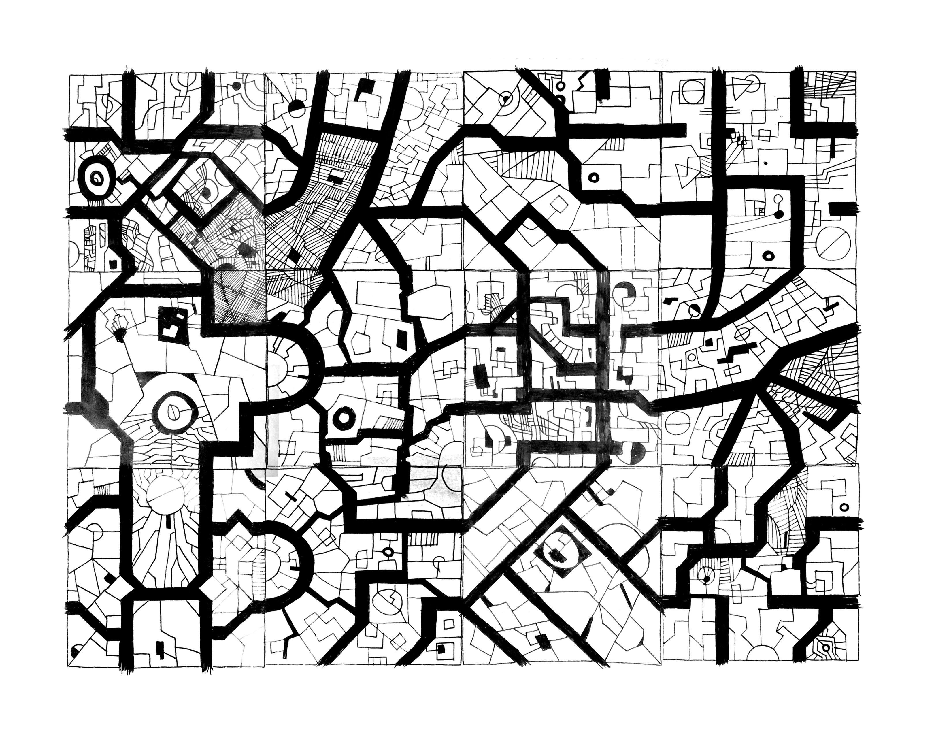 An Urban Geomorph for Nullhack. Just slice this badboy up, twist and turn it and duplicate it until you have a city of big enough size for your game.