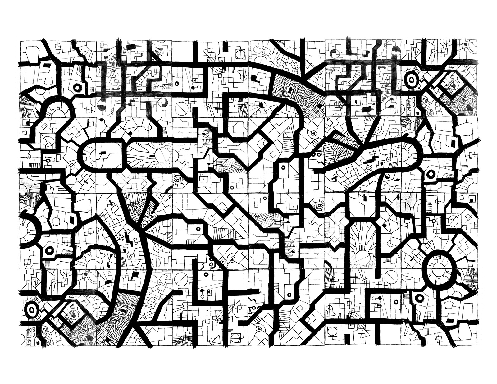 This one uses the full set of tiles a few times creating what I would call a whole district of a Megacity.