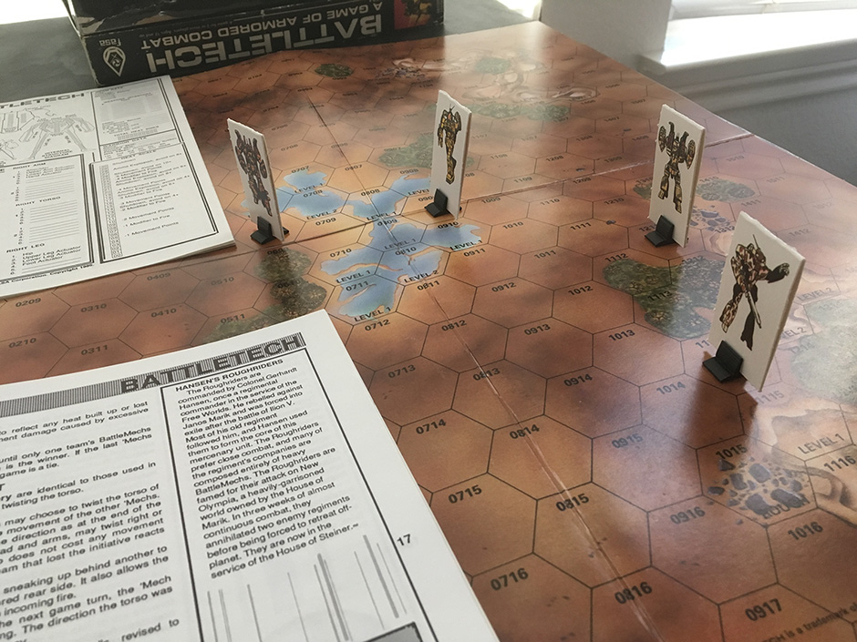 My copy of Battletech, 2nd edition. I can't wait to get miniatures, but the little cardboard cutouts are kinda charming.