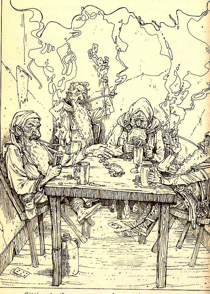 The Dwarves, by Russ Nicholson. These guys definitely added to the Mythic Underworld feel of the dungeon. They're just there. No apparent explanation. But they act like the world around them is their world and it make sense in a dream logic sort of way.