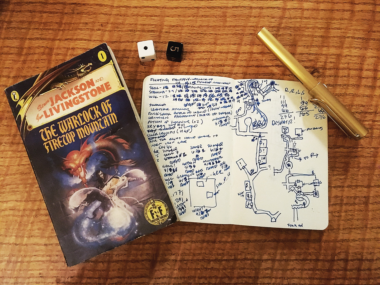 This is basically all you need to play one of these. Pen, paper, a pair of d6s.